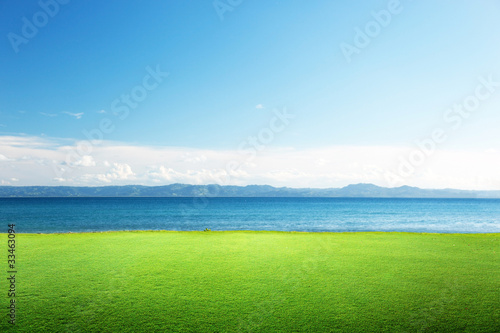 Fotobehang - green grass and caribbean sea