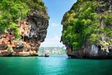 Fototapeta Natura - rockson Railay beach in Krabi Thailand