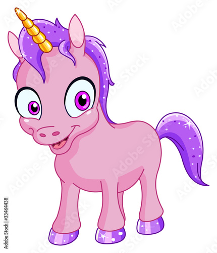 Deurstickers Pony Smiling unicorn
