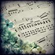 Spartito musicale, fiori, texture retro