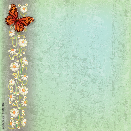 Fotobehang Vlinders in Grunge abstract grunge illustration with butterfly and flowers