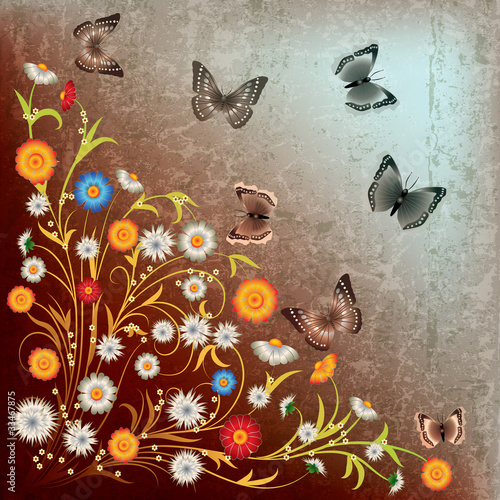 Foto op Aluminium Vlinders in Grunge abstract grunge illustration flowers and butterfly
