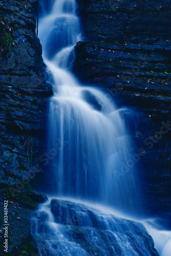 soft waterfall in the park in the night - 33469432