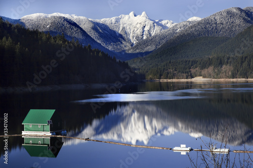 Capilano Reservoir Lake Snowy Two Lions Mountains Vancouver Brit