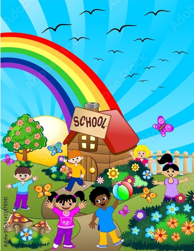 Deurstickers Vogels, bijen Bambini a Scuola-Children at School-Vector