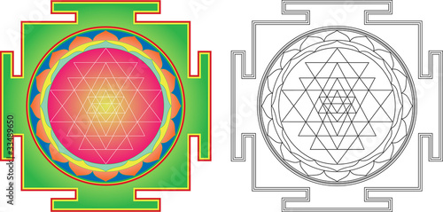 Vector Shri  Yantra (or Sri Yantra) for Meditation . Wallpaper Mural