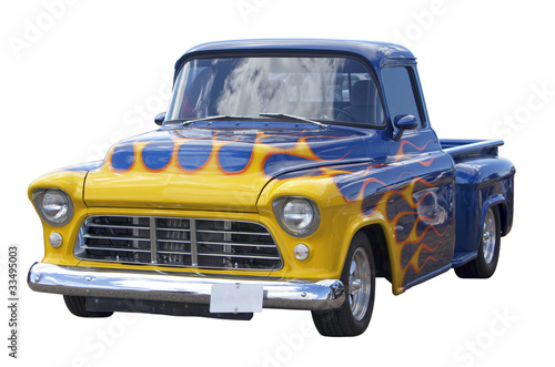 Deurstickers Oude auto s Hot rod isolated on white
