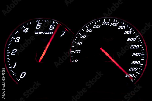 Photo  Speedometer and revcounter reaching the limit