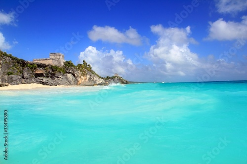 Canvas Prints Green coral ancient Tulum Mayan ruins view from caribbean sea