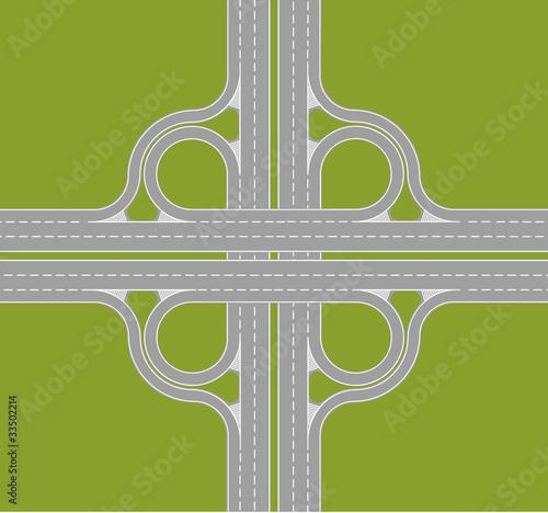 Poster de jardin Route highway intersection