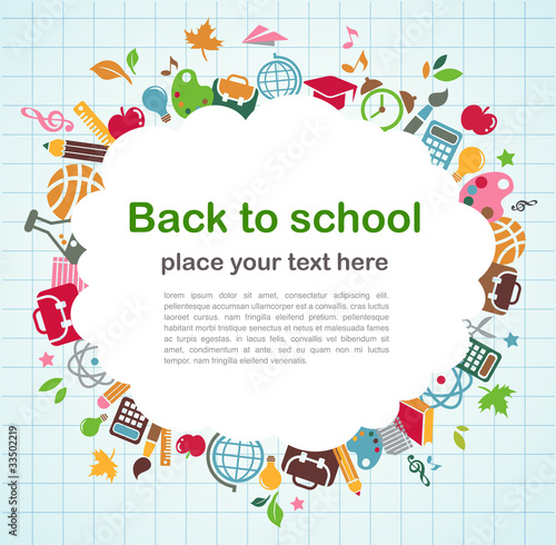 back to school - background with education icons Poster