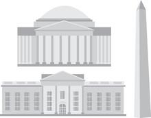 Famous Landmarks In Washington, DC - Vector