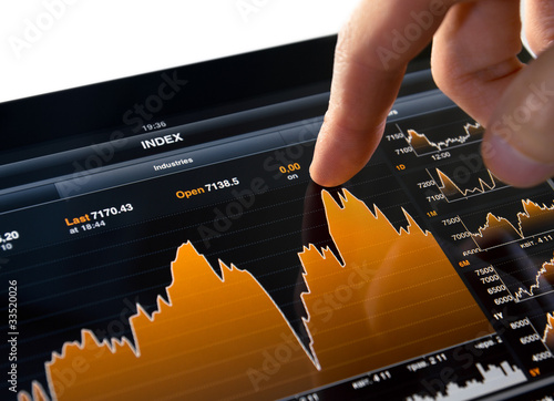 Fotografía  Touching Stock Market Chart
