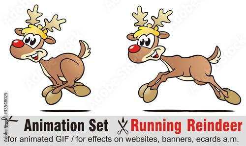 Valokuva  Animation Set Running Reindeer