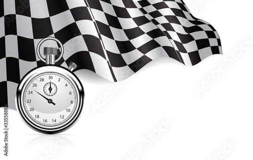 Fotografie, Obraz  Checkered flag with a stopwatch background
