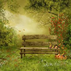 Fototapeta Sad z drewnianą ławką i owocami