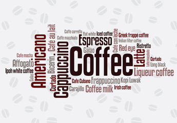 FototapetaWordcloud of coffee