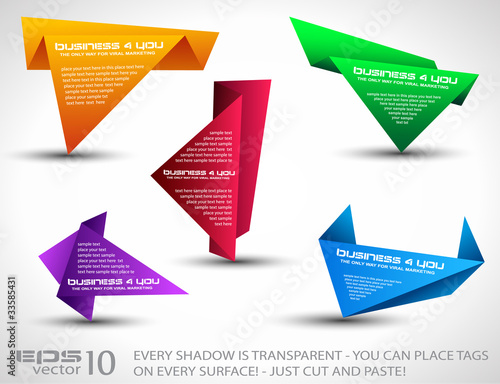 Origami triangle style speech Banner set Poster