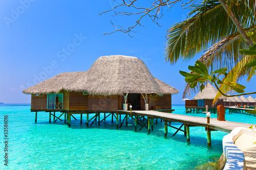 Poster Strand Island in ocean, overwater villa.Maldives. .