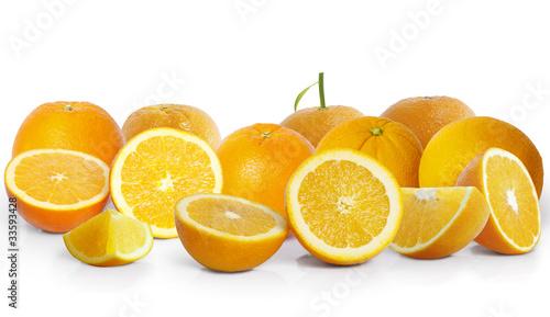 Spoed Foto op Canvas Plakjes fruit Orange on white background