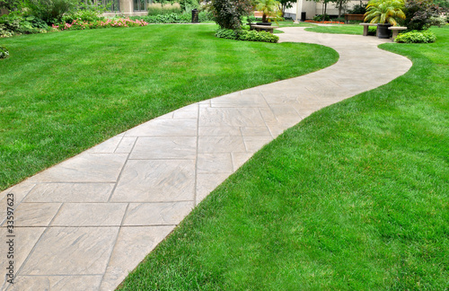 Fotografie, Obraz  Paved walkway and lawn