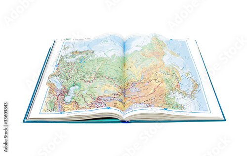 Fotografía  World Atlas. Page opens with the image of Russia.