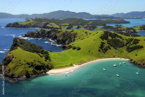 Fototapeta Aerial of Waewaetorea Passage, Bay of Islands, New Zealand