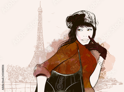 Poster Illustration Paris woman in autumn
