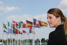 Portrait Of A Woman With Flags...
