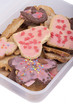 studio-shot of a food storage box full with christmas cookies.