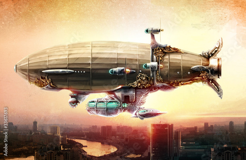 Dirigible balloon in the sky over a city Canvas Print