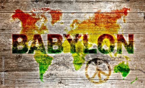 Fototapeta premium Holzschild - Pokój dla światowego systemu Babylon