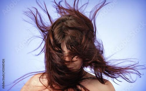 Fotografie, Obraz  Disheveled hair, covered his face.