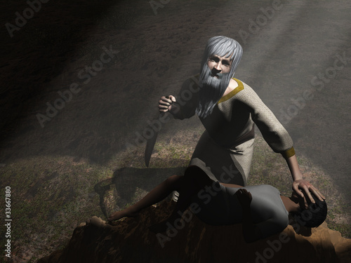 God intervenes before Abraham sacrifices Isaac Poster