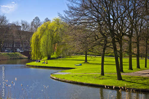Photo  Beautiful green lawn on the canal bank in Amsterdam.