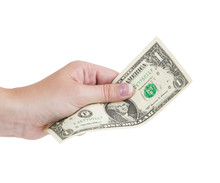 Hand Holding Money Dollar Isolated On White Background