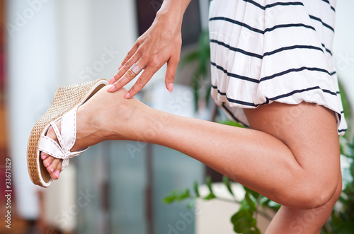 woman hand and foot Canvas Print