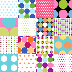 Fototapetaseamless patterns, polka dot set
