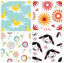 Set Of Playful Seamlees Patterns For Children