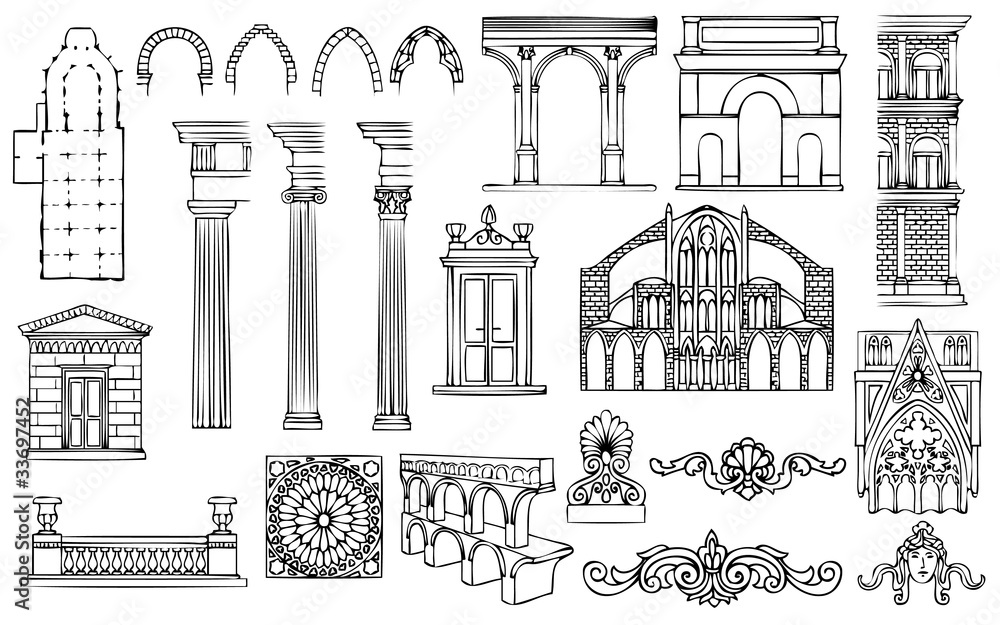 Fototapety, obrazy: architecture and ornaments vector set