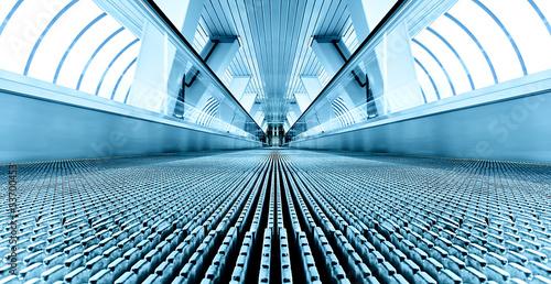 blue modern escalator in business center Tableau sur Toile