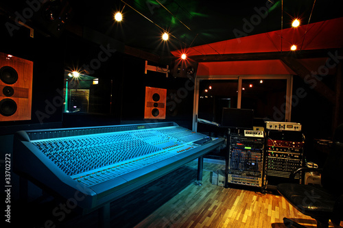 Canvas Prints Music store Mixing console in recording studio