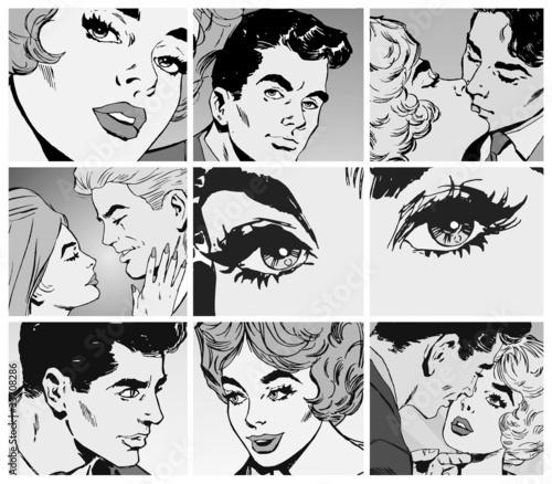 kolaz-komiksowych-czarno-bialych-zdjec