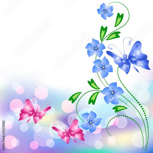 Tuinposter Vlinders Floral background