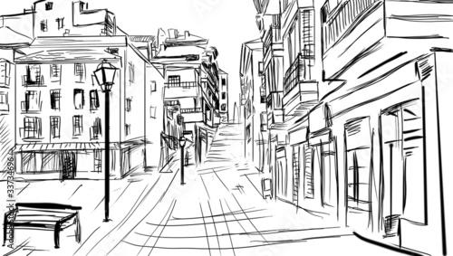 Foto auf AluDibond Gezeichnet Straßenkaffee old town - illustration sketch