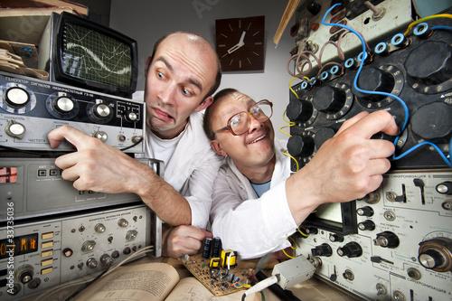 Fototapeta Two funny nerd scientists