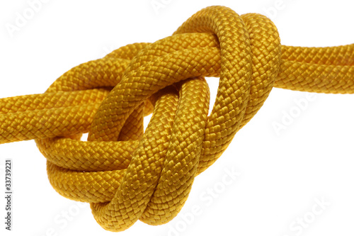 Photo apocryphal knot on double yellow rope