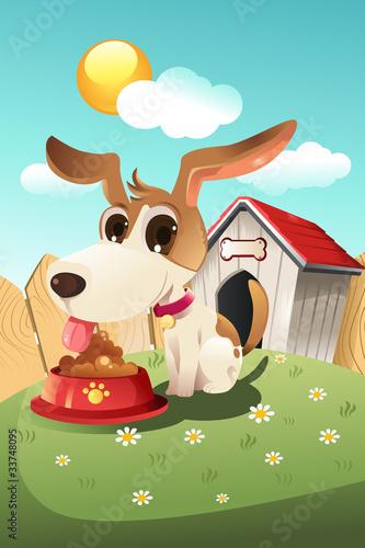 Foto auf Leinwand Hunde Dog in doghouse