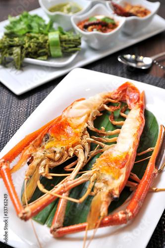 Fotobehang Schaaldieren Spicy grilled prawns