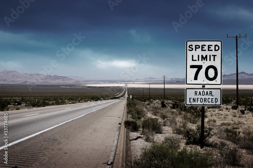 Fotografie, Obraz  Highway road with speed limit sign
